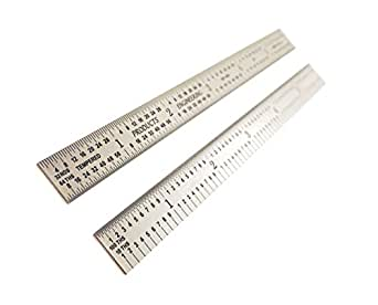 "1//10, 1//100, 1//32, 1//64 machinist ruler #501-012 PEC 12/"" Flex Satin Chrome 5R"