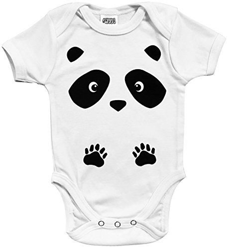 CHUBS, Panda Baby Ones, Unisex Boy Girl Clothes, 100% Cotton Made in The USA, Best (White, 9-12 Months)