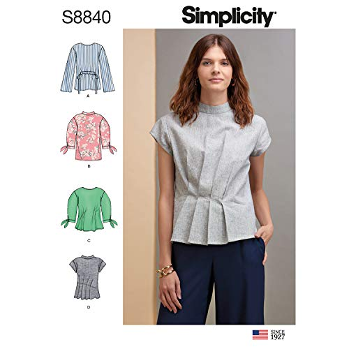 Simplicity US8840R5 Pattern S8840 Misses' Top with Length, Front and Sleeve Variations, R5 (14-16-18-20-22)