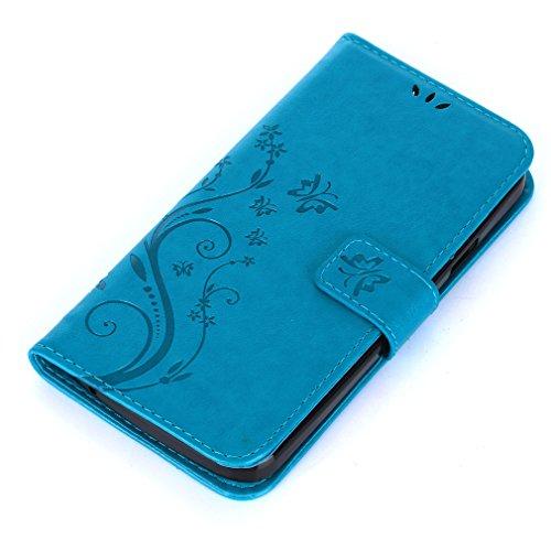 Yiizy DOOGEE X6 Custodia Cover, Erba Fiore Design Sottile Flip Portafoglio PU Pelle Cuoio Copertura Shell Case Slot Schede Cavalletto Stile Libro Bumper Protettivo Borsa (Blu)
