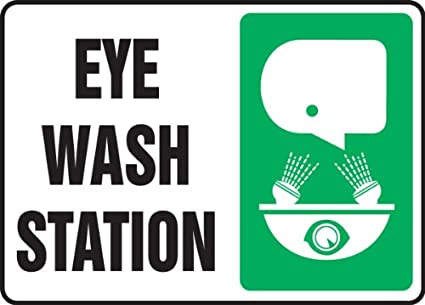 Accuform MFSD927XV Adhesive Dura-Vinyl Sign LegendEMERGENCY EYE WASH STATION KEEP AREA CLEAR Black//Green on White 10 Length x 14 Width x 0.006 Thickness