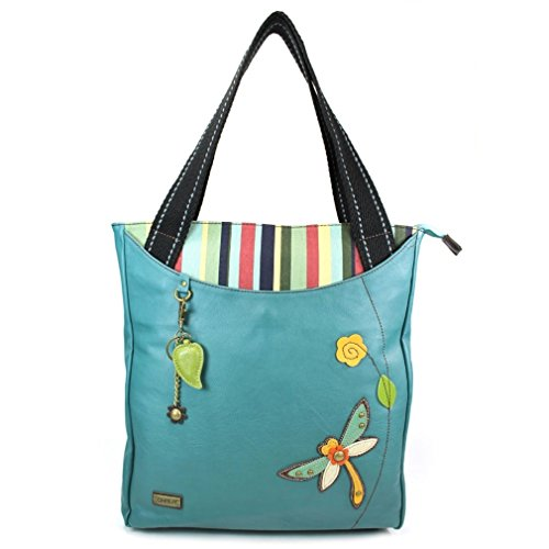 Chala Handbag STRIPED Tote DRAGONFLY Turquoise Blue Green Vegan Leather (Leather Dragon Green)