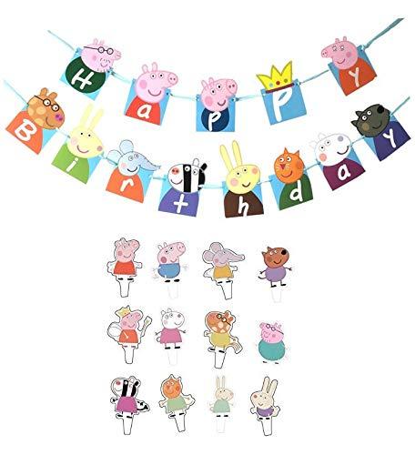 (NicoleWa Peppa Pig Theme Birthday Party Decoration Banner+48Pcs Peppa Pig Cupcake)