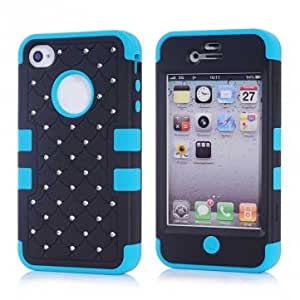 Luxury Design Diamond Rubber Silicone Skin Hybrid Case For iPhone 4 4S -*- Color -- Rose Red+Blue