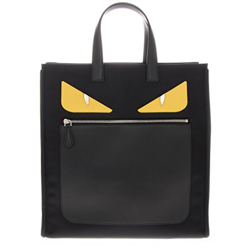 Fendi-Mens-Bag-Bugs-Eyes-Front-Zippered-Nylon-Tote-with-Leather-EdgesHandle-Black-Yellow