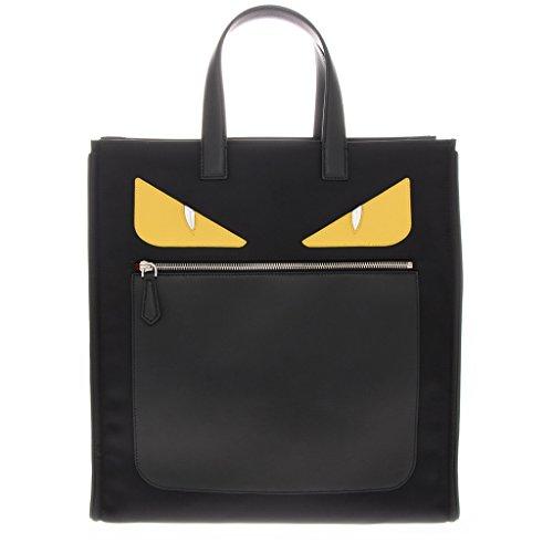 Fendi Men's 'Bag Bugs Eyes' Front-Zippered Nylon Tote with Leather Edges/Handle Black - Fendi Bag Eye