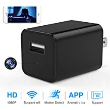 WiFi Hidden Spy Camera, 1080P HD USB Wall Charger Camera Wireless AC Adapter Home Security Cam with Motion Detection, App Remote Control for iPhone, iPad, Android, Samsung Galaxy and More