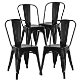 Poly and Bark Trattoria Kitchen and Dining Metal Side Chair in Black (Set of 4)