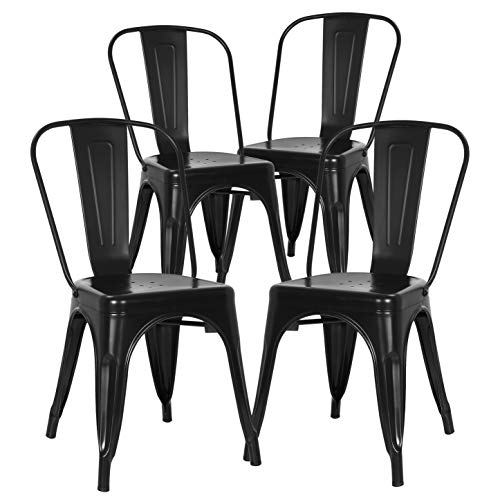 - POLY & BARK EM-112-BLK-X4 Trattoria Side Chair in in Black (Set of 4),