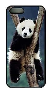 China Panda In Tree Polycarbonate Custom iPhone 5S/5 Case Cover - Black
