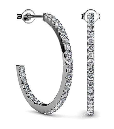 Jade Marie APPEALING Silver Hoop Earrings, 18k White Gold Plated Hoops with Brilliant Round Cut Swarovski Crystals, Thin Hypoallergenic Hoop Earrings for Women, Cool Gifts for Girls BRIDESMAID ()