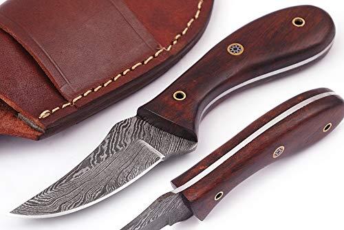"06 Bandle Custom Handmade Hunting Knife Camp Knife Damascus Steel Skinning Knife EDC 7"" Overall Rose Wood with Custom Sheathe"