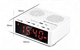 Smileto New Style Portable Mini Desktop Alarm Clock & Wireless Bluetooth Speaker With LED Time Display, FM Radio, TF Reader, Hands Free Calls, Amplifier for Cell Phone, Laptop, Tablets (White)