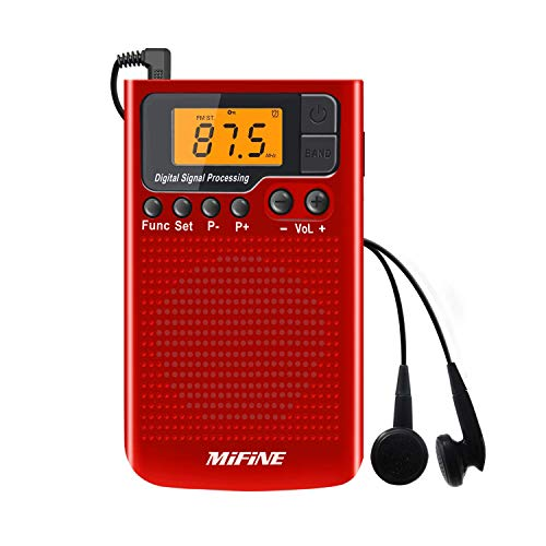 AM FM Radio - Portable Radio with Alarm Clock and Sleep Timer, Digital Tuning Stereo Radio with 3.5mm Headphone Jack for Walking Jogging Gym Camping - Am Radios Stereo Headphone Fm
