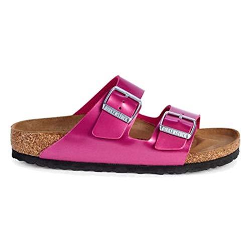 - Birkenstock Women's Arizona Birko-Flor Limited Edition Narrow Fit Sandals, Electric Metallic Magenta, 37