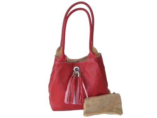 En cuir italien doux et Giglio-main réversible Sac à bandoulière en daim - - Red and Tan,