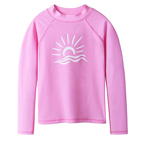 TFJH E Long Sleeve T-Shirt for Girl Rashguard Swimwear UV 50+ Surfing Swimming Costomes, Pink 10A ()