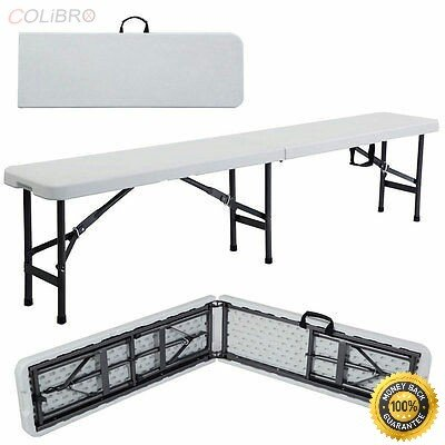 COLIBROX--Folding Bench Outdoor Camping .Portable Plastic Outdoor Picnic Party Dining Gray powder-coated, heavy duty steel wishbone legs .Rubbers on the legs prevent your floor from scratches or a by COLIBROX