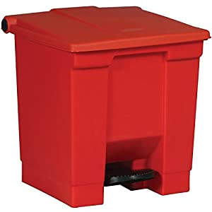 Rubbermaid Commercial FG614300RED Step-On Lid Wastebasket, 8-gallon, Red
