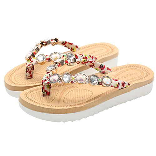 Thong Smart Size Glitter for Sparkly Lolittas Swimming Women Summer Slipper Flip Beach Flops Shoes 2 Red Jewelled Diamante Rubber Pool Personalised Sandal 7 qazFgf