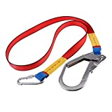MonkeyJack Outdoor Climbing Construction Fall Protection Harness Belt Safe Lanyard with Carabiner + 8.3'' Large Hook