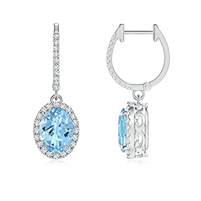 Angara Oval Shape Aquamarine March Birthstone Stud Earrings White Gold voFeTt