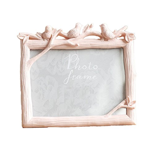 Pink Resin Baby Frame (MineDecor 5x7 Picture Frame Animal Resin Vintage Photo Frames Ornament Stand for Table Top Desk (Bird, Pink))