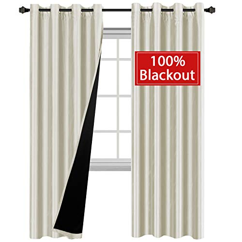 H.VERSAILTEX 84 inch Long 100% Blackout Curtains for Bedroom Dupioni Faux Silk Lined Curtain Panels for Villa, Hall and Studio - Energy Efficiency, Nickel Grommet (Set of 2, -