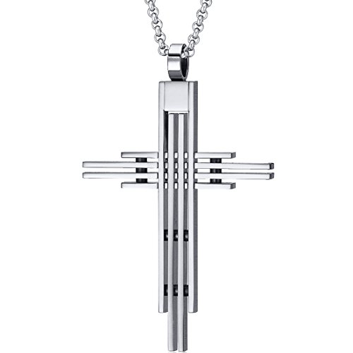 Mens Art Deco Extra Large Stainless Steel Cross Pendant with Rolo Chain