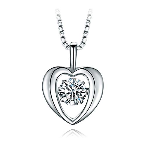 T400 925 Sterling Silver Dancing Diamond Stone White Heart Pendant Necklace Cubic Zirconia from Swarovski Women Wedding Gift