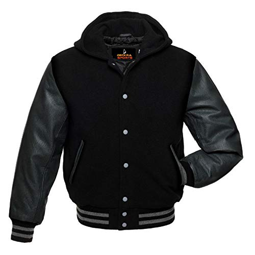 Men's Varsity Jacket Genuine Leather Sleeve and Wool Blend Letterman Boys College Varsity Jackets (All Black(Hoodie), Small)