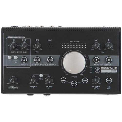 Mackie Big Knob Studio Monitor Controller and Interface, 3x Sources & 2x Monitor Pairs - With 2 Pack 6' 1/4
