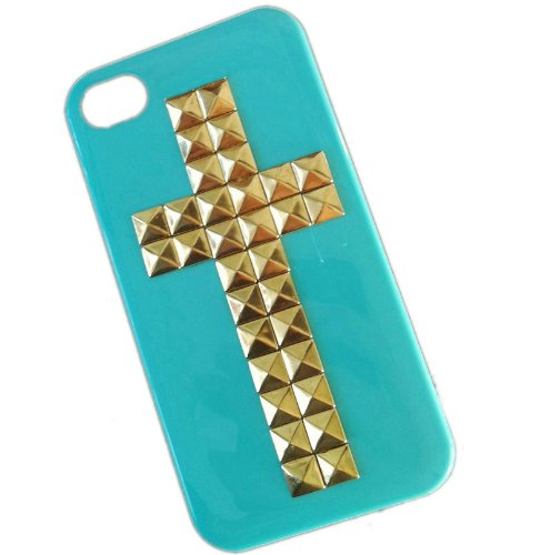 Cross Style Mobile Phone Case for Iphone 4 4s Mobile Cover with Studs and Spikes Blue Gold ()