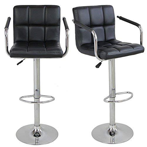 FCH Set of 2 Square PU Leather Barstools Height Adjustable from 21 1/2