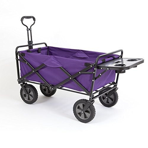 Mac Sports Collapsible Folding Outdoor Utility Wagon (Wagon with Side Table, Purple) ()