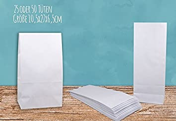 25 Bolsas de papel blanco, 10,5 x 27,0 x 6,5 cm, bolsas de ...