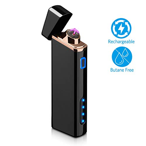 Cigarette Gas Lighter - Lighter, Electric Lighter with Battery Display USB Rechargeable Arc Lighter Windproof Plasma Lighter - for Fire/Cigarettes, Candles