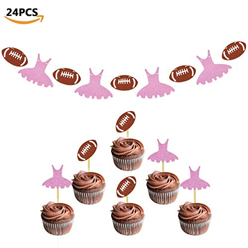 (Touchdowns or Tutus Banner Gender Reveal Cupcake Toppers Glitter Baby Shower Party Supplies Decorations Kit 24)
