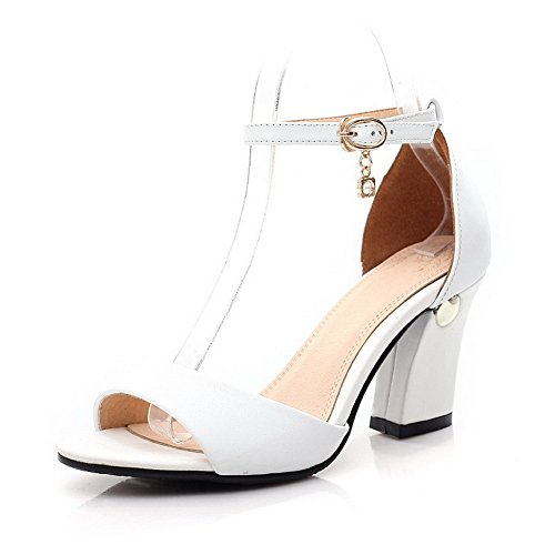 AllhqFashion Womens High Heels Solid Buckle Open Toe Sandals White 3GXmAOlIJ