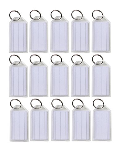 Clear Plastic Key Tags - Lot of 100 Key ID Labels Tags Split Key Ring Key Chain Name Tag Click-It Clear Colors By Spreezie (White)