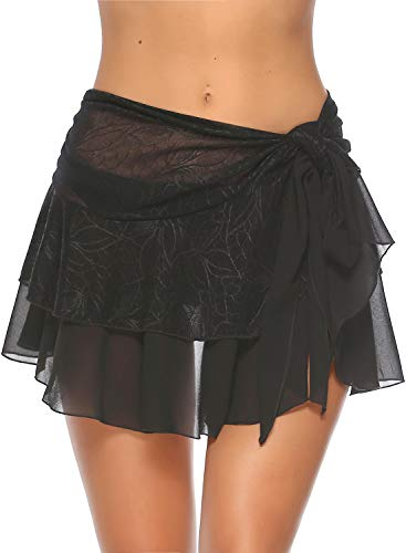 Neeseelily Womens Beach Short Sarong Wrap Chiffon Cover Up Ruffle Pareo Swimsuit Wrap (One Size (for Size L & XL)) Black