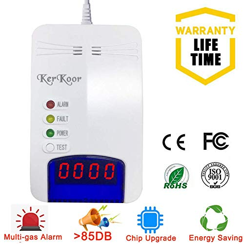 Natural Gas Leak Detector Detection Alarm Monitor Sensor for Home/Kitchen High Sensitivity Smart LPG/Coal/Propane/Methane/Gas Sniffer Detector for Home Electronic Pen Plug-in (2019 Chip Upgrade)