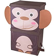Cute Monkey Stackable Storage Organizer by Clever Creations | Collapsible Storage Box Any Room | Perfect Size Chest for Organizing Dog Toys, Clothes, Shoes and More!