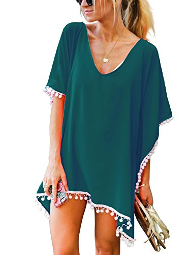 Adreamly Women's Pom Pom Trim Kaftan Chiffon Swimwear Bathing Suit Beach Cover Up Free Size Blackish Green