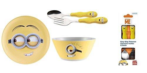 Despicable Me Minion Bundle- 3 Items: Plates, Cereal Bowls and Kids Flatware Set ()