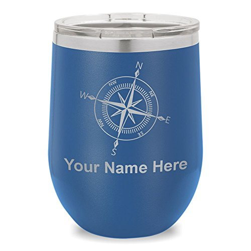 Wine Glass Tumbler, Compass Rose, Personalized Engraving Included (Dark Blue)