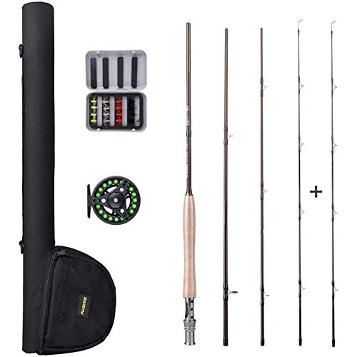 PLUSINNO Lightweight Ultra Portable Fly Fishing Rod and Reel Graphite Pole with Toray Carbon Fiber Blanks and Chromed Stainless Steel Snake Guides 4-Piece with Rod Case