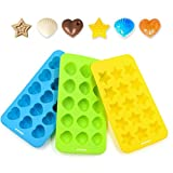 Silicone Chocolate Molds & Candy Molds & Gummy Molds Set of 3 - Ankway Non Stick BPA Free Small Flexible Hearts, Stars & Shells Baking Wax Molds Silicone Ice Cube Trays Mini Ice Maker Molds (15 Cups)