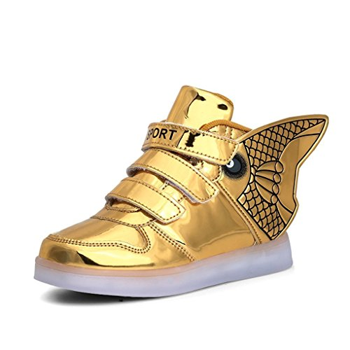 Platform Shoes With Goldfish (Goldfish light shoes children with wings light shoes fire children shoes USB charging light shoes Gold 1 M US Little Kid)