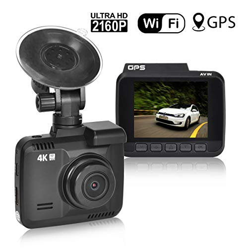 Iseebiz 4K Dash Cam, Car Dashboard Camera Recorder, Novatek Chip, Built-in WiFi GPS, G-Sensor, 150°Wide Angle, Loop Recording, G-Sensor, Parking Mode for Vehicle Truck etc. -
